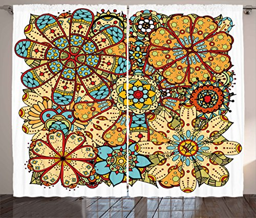 Ambesonne Ethnic Curtains, Boho Style Floral Pattern Mixed Folk Traditional Indian Culture Image, Living Room Bedroom Window Drapes 2 Panel Set, 108W X 84L Inches, Sky Blue Peach Marigold