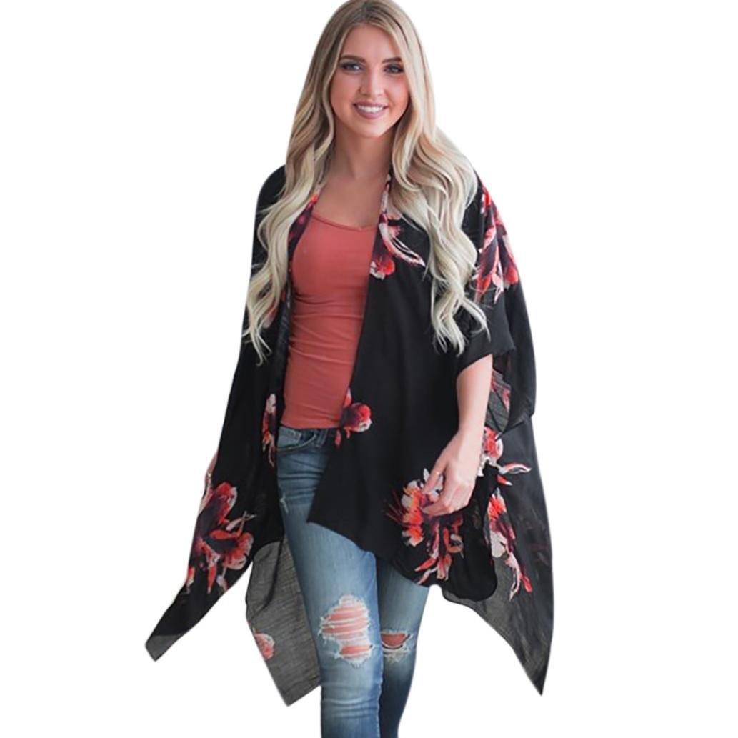 KaiCran Women Oversized Print Floral Bohemia Cardigan Long Kimono Shawl Irregular Blouse