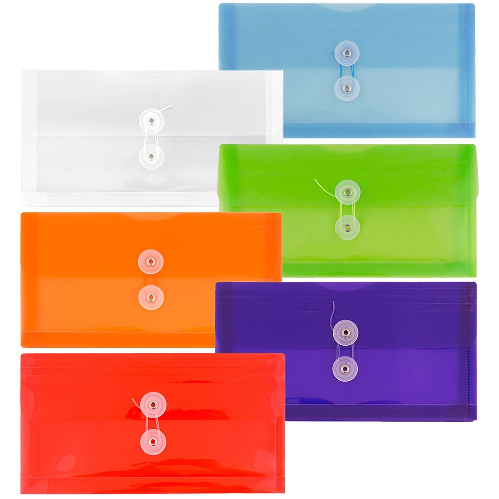 JAM Paper #10 Plastic Business Envelope with Button and String Tie Closure - Check Size 5'' x 10'' - Assorted Colors - 6/pack