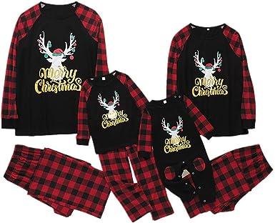 Conjunto de Pijamas Familiares a Juego de Navidad con Camisa Estampada con Letras Pantalones a Cuadros Rojos Trajes de Dormir: Amazon.es: Ropa y accesorios