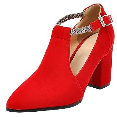 Agodor Damen T-Spangen High Heels Blockabsatz Pumps mit Spitze und Schnalle  Elegant Riemchen Schuhe cf857a28d7