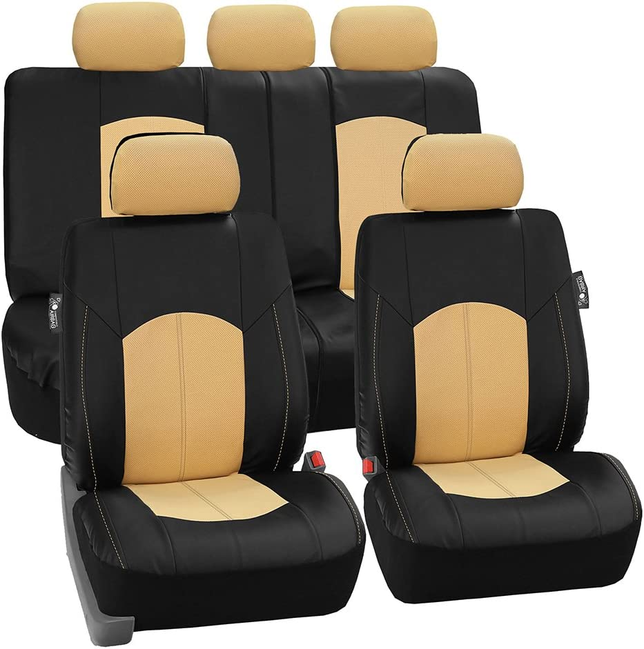 FH Group PU008BEIGE115 Full Set Seat Cover (Perforated Leatherette Airbag Compatible and Split Bench Ready Beige)