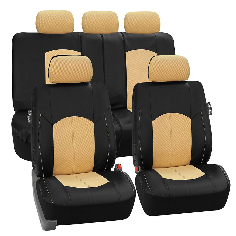 Perforated Leatherette Airbag Compatible and Split Bench Ready Black FH Group PU008BLACK115 Full Set Seat Cover