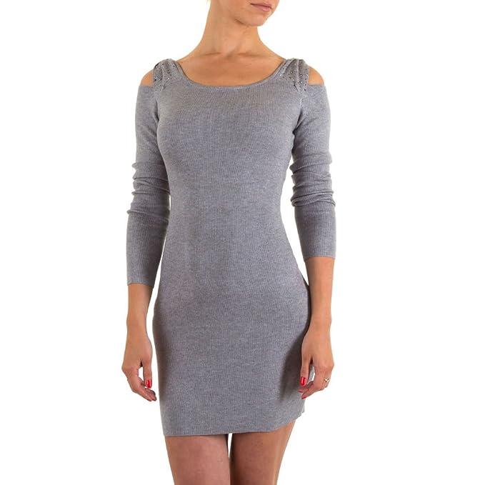 Vestido de mujer sin hombro Cóctel brillantes de punto gris Talla única : Amazon.es: Ropa y accesorios