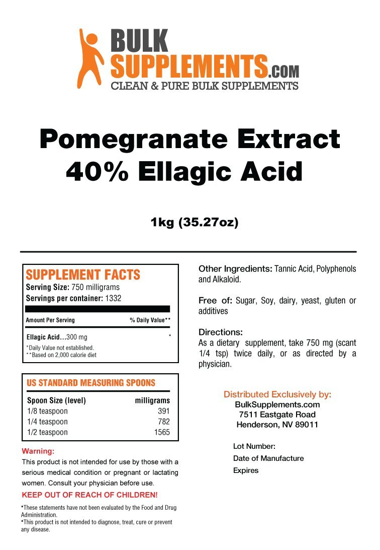 BulkSupplements Pomegranate Extract Powder 1 Kilogram