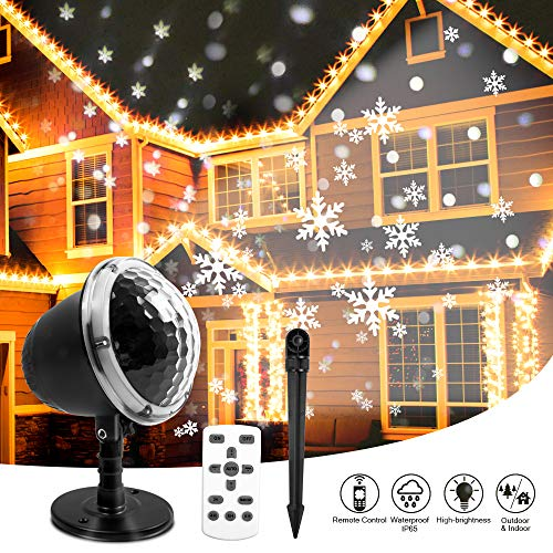 Halloween Projection 2019 (Christmas Snowflake Projector Lights, KAREEME Rotating LED Snowfall Projection Lamp with Remote Control for Christmas, Valentines Day, Halloween Holiday, Outdoor, House, Garden, Wall)