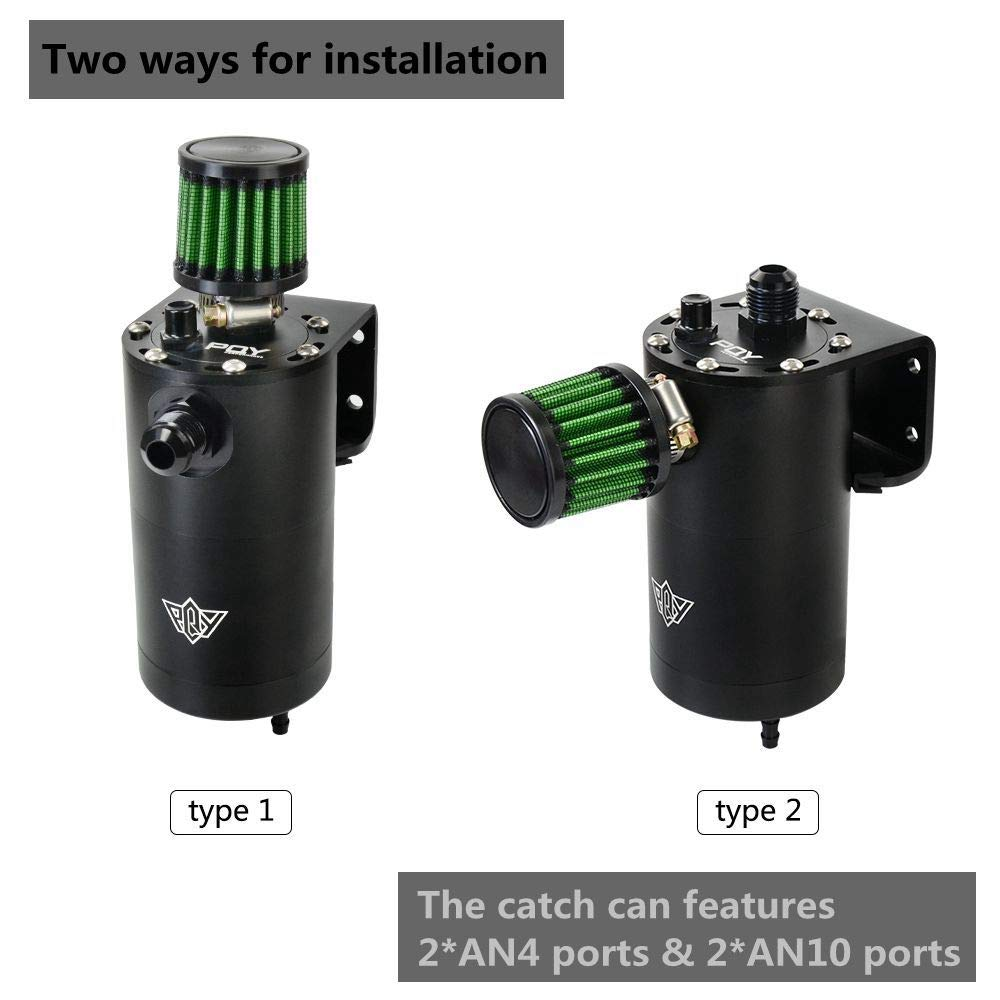 Universal Air Oil Separator Catch Can for Return Diesel and Petrol Engine with AN4 /& AN10 Port 240mL