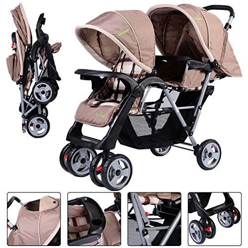 Foldable Twin Baby Double Stroller Kids Jogger Travel Infant Pushchair Gray by Apontus