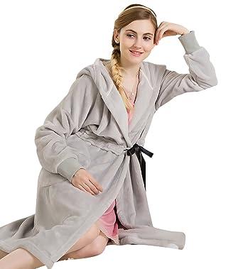 Doneipa Womens Cozy Flannel Pajama Warm Soft Fleece Robe Bathrobe Grey  Medium f6a468f54