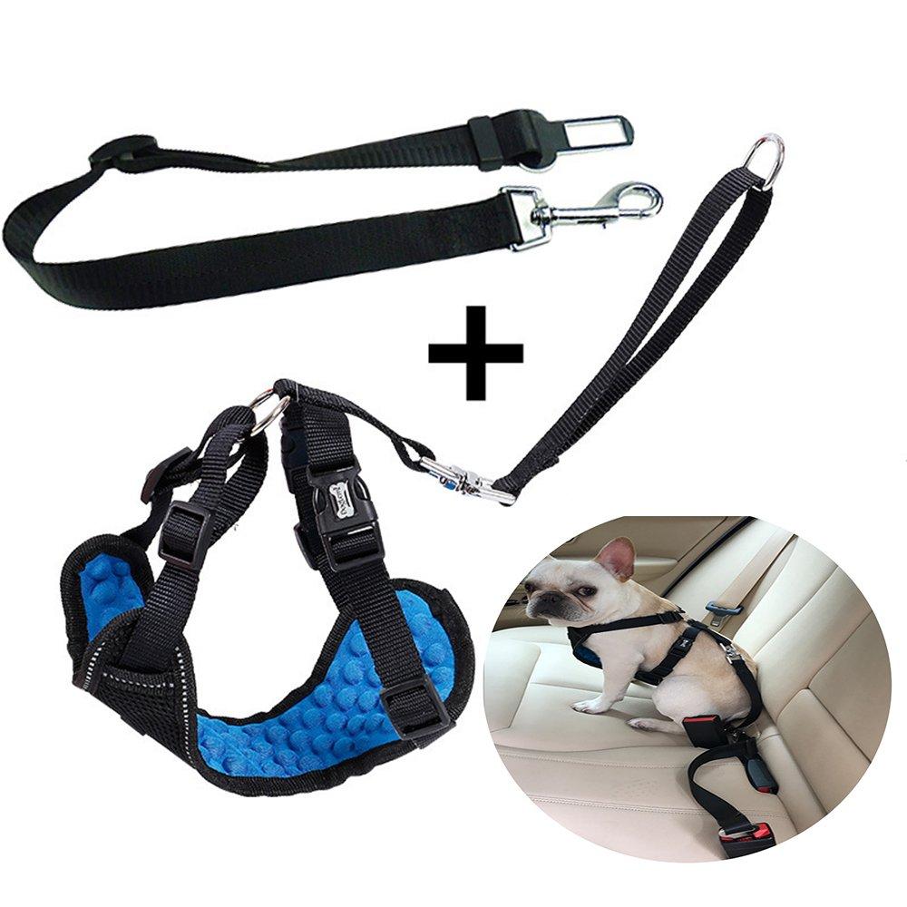 Safety Pet Dog Car Vest Harness Santune Adjustable Vehicle Seat Belt Reflecive Leash Set With Massage function for Small Large Dogs Walking Travel Trip M