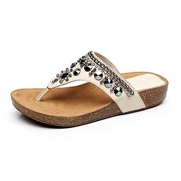 XIAOLIN-Sommer sandalen Damen Hausschuhe Leder Kork Outdoor Flip Flops weibliche Perle Mode Strand Sandalen Farbe...