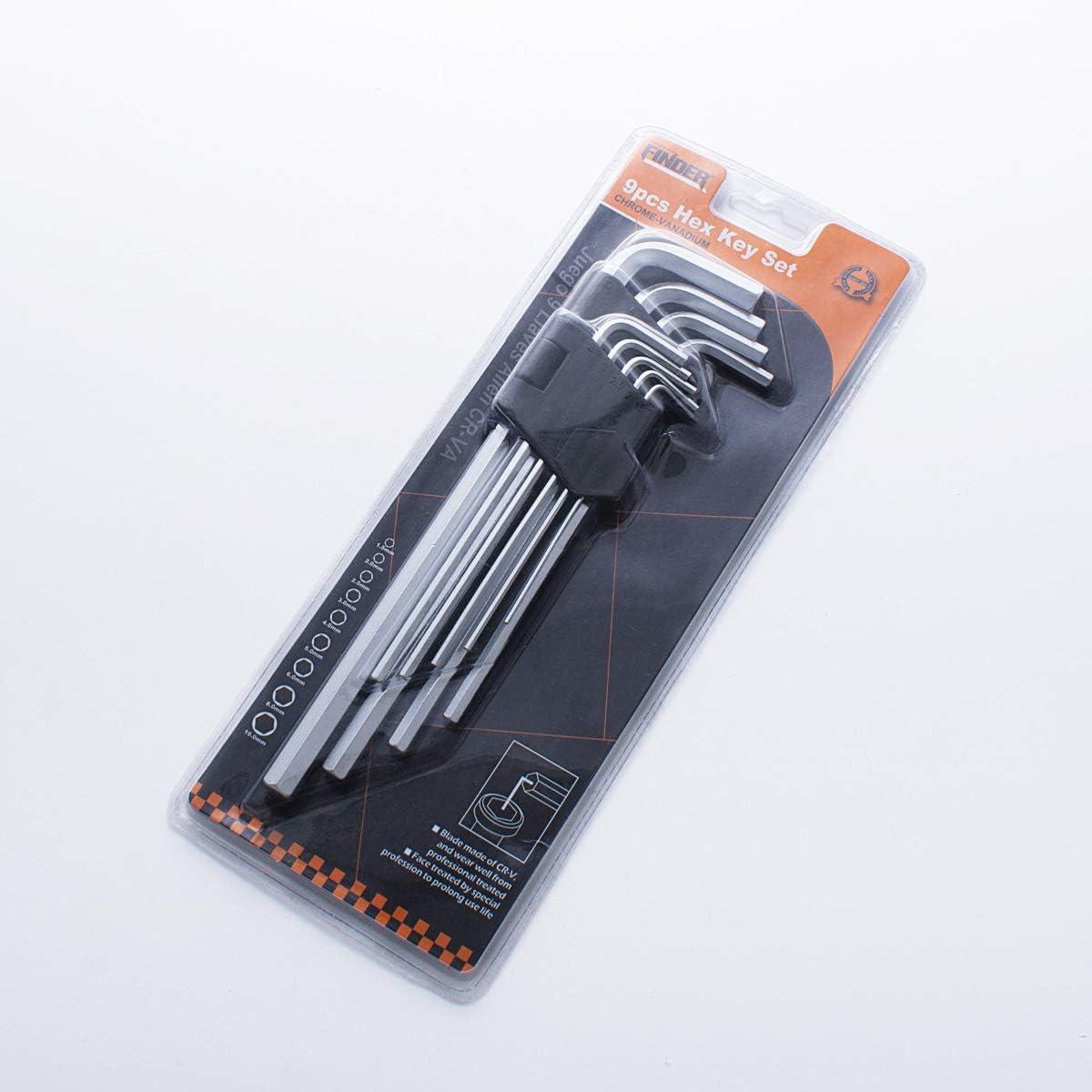 FINDER XJ193124P Arm Hex Key Wrench Set Chrome Vanadium set of 9 pieces,Extra Long Metric