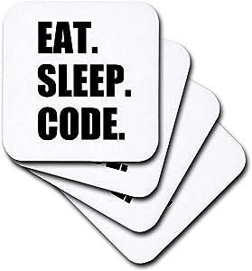 3dRose cst_180391_1 Eat Sleep Code-Computer Coder. Programmer. Love to Program. Coding-Soft Coasters, Set of 4