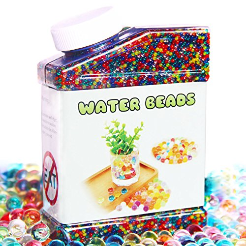 Elongdi Water Beads Pack Rainbow Mix Over 50,000 Orbies Beads Growing Balls, Jelly Water Gel Beads for Orbeez Spa Refill,  Kids Sensory Toys , Vases, Plant, Wedding and Home (Eco Friendly Vases)