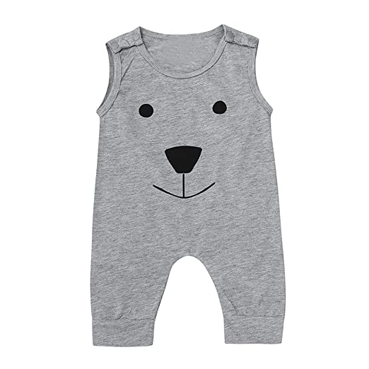 220704f2ff1 Amazon.com  Fineser Infant Baby Boys Summer Harem Bodysuit Sleeveless Romper  Cartoon Bear Jumpsuit Outfits  Clothing