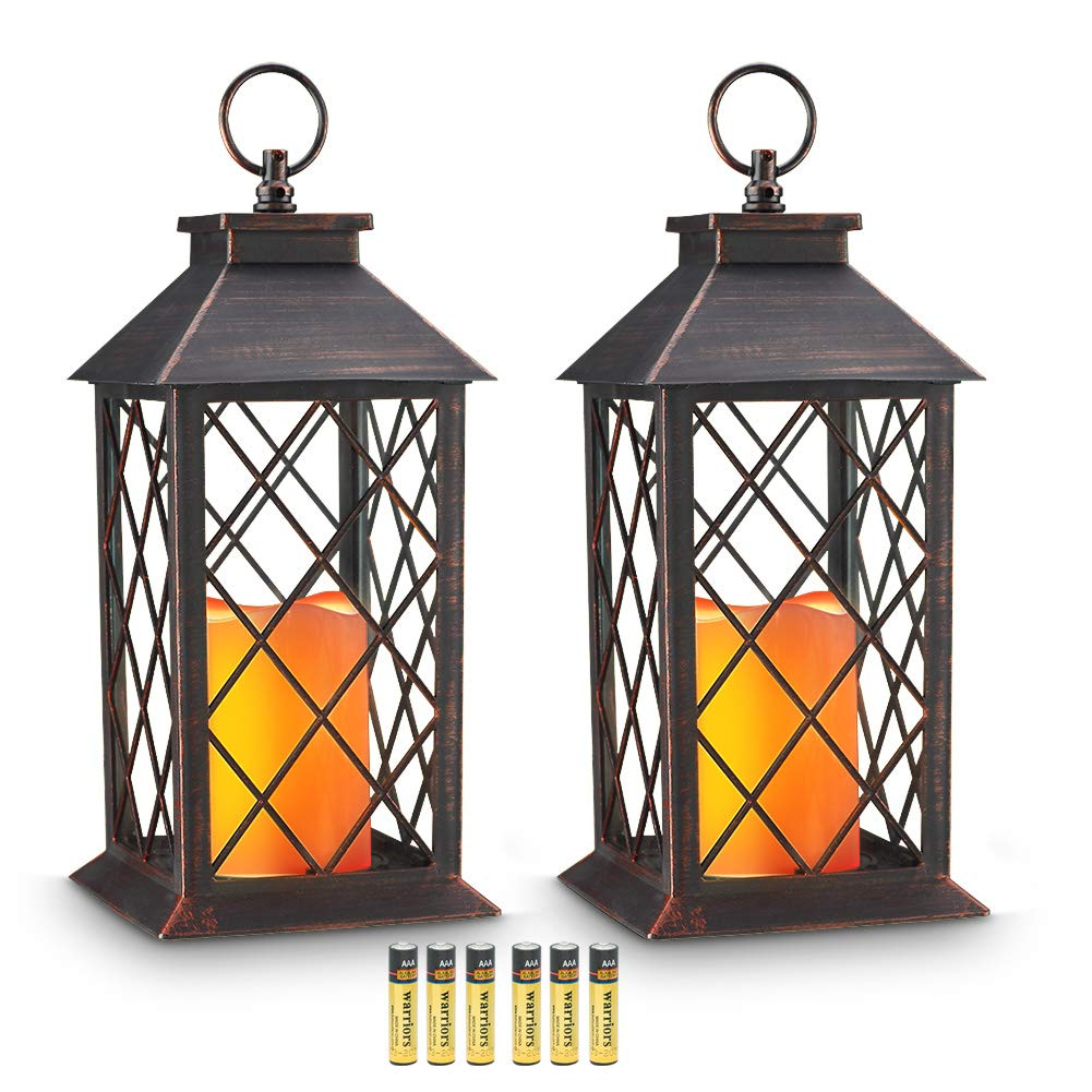 Evermore Light 14'' Copper Brushed Vintage Style Candle Lantern with 4 Hours Timer (Batteries Included) Hanging Lantern for Indoor&Outdoor Flameless candles Decorative-Candles-Lanterns (set of 2)