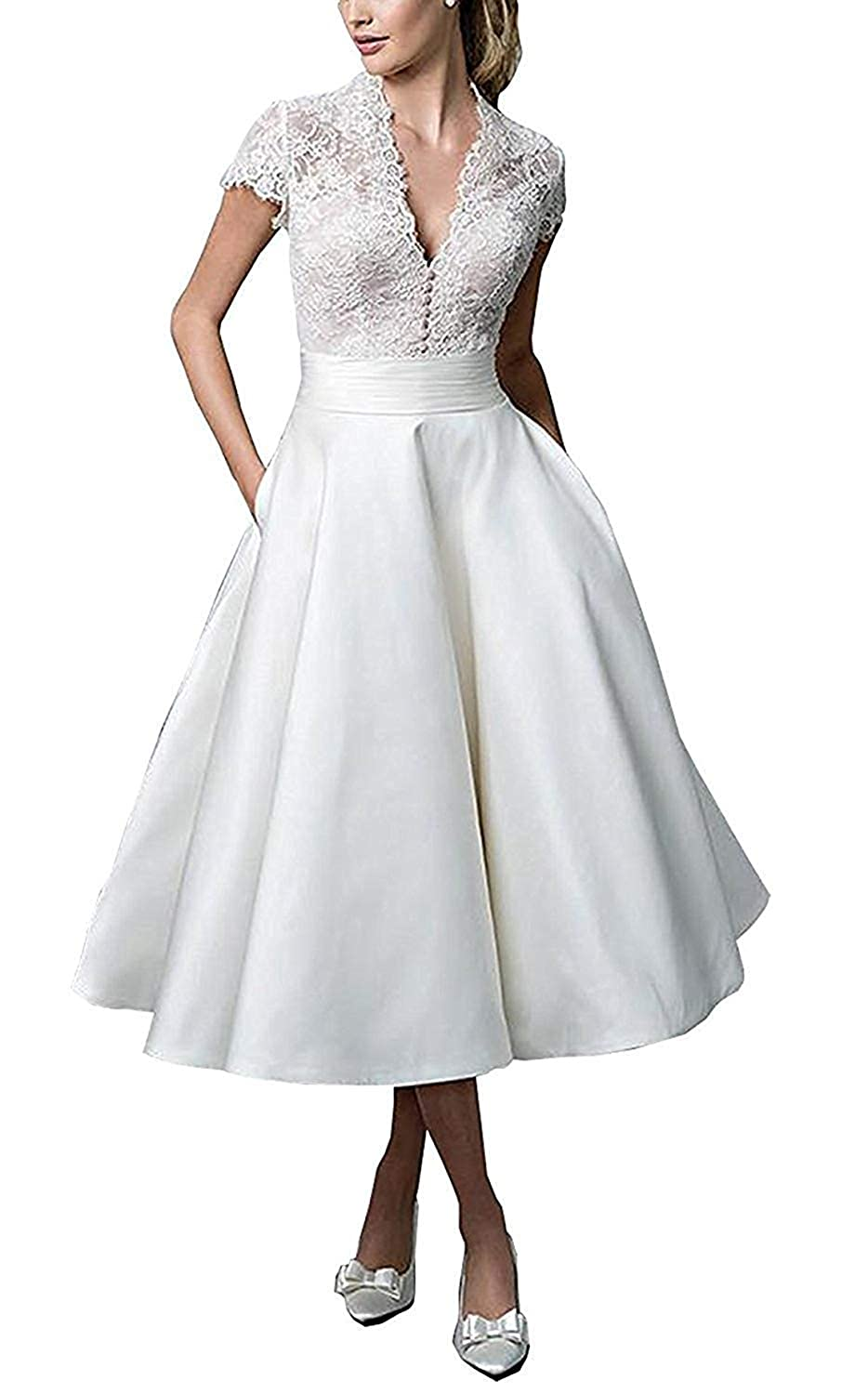 Ivory Wedding Dresses for Bride 2019 Beach Bridal Dress with Short Sleeves Lace Wedding Gowns for Women