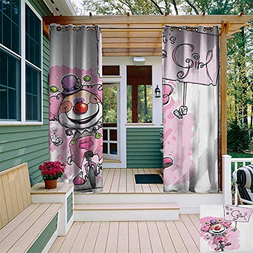 Gender Reveal, Outdoor Curtain Extra Long, Artistic Clown on a Unicycle Holding Its a Girl Plackard Print, Outdoor Curtain panels for Patio Waterproof W120 x L108 Inch Baby Pink Red and Green