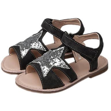 64ab9e0183e Sandalias para niñas Zapatos para niños Star Candy Color Blanco Sandalias  de punta abierta para niños Escuela Zapatos planos de cuero para niñas   Amazon.es  ...
