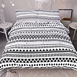 Sleepwish 3Pcs Elegant Black White Striped Duvet Cover Set Modern Chic Reversible Geometric Printed Bedding Set Soft and Breathable Bedding Collection (Queen)