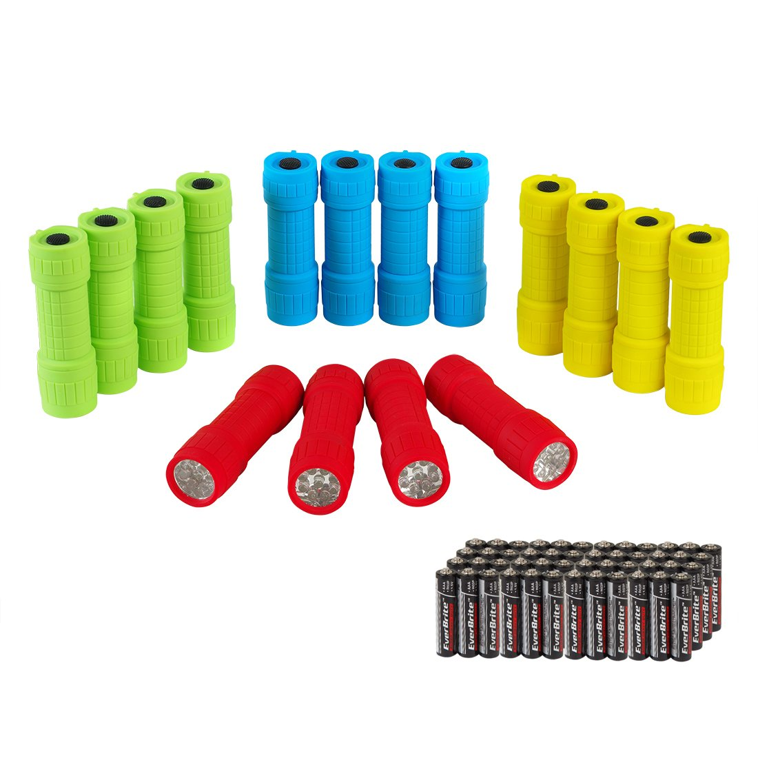 EverBrite 16-pack Mini LED Flashlight with Lanyard Assorted Colors Batteries Included