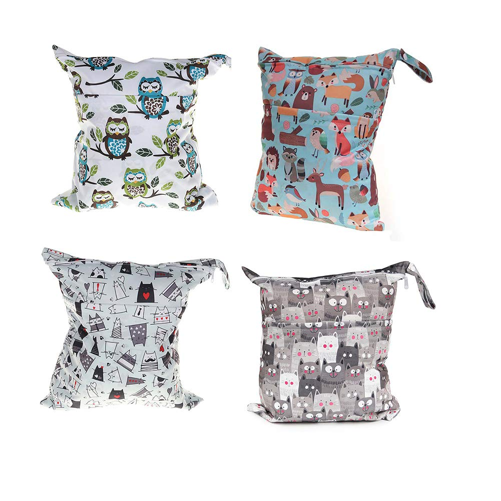 Grey LAMEIDA Baby Diaper Bag Nappy Bag Cute Cat Birds Printed Infants Waterproof Washable Wet Dry Bag Double Zippered Diaper Nappy Storage Bags