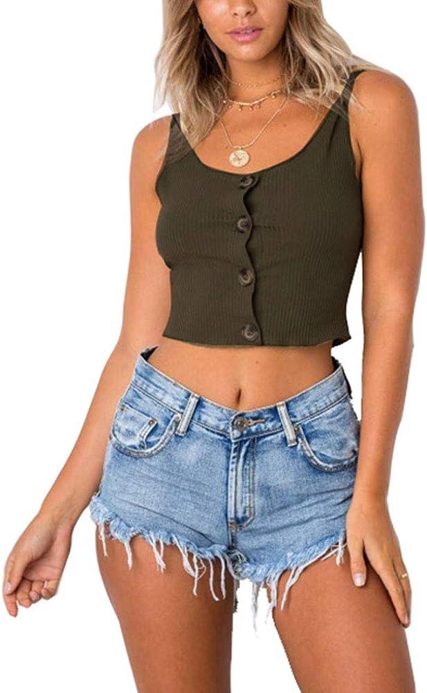 YUNY CrazyBegin - Camiseta de Tirantes de algodón con Botones para Mujer - Verde - X-Large (Large): Amazon.es: Ropa y accesorios