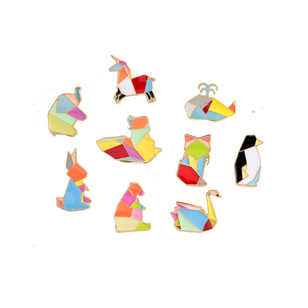 Mall of Style Decorative Pins for Backpack Enamel - Bear, Bunny, Elephant, Penguin, Whale, Squirrel, Fox, Swan, Pony, Origami Animal Brooch