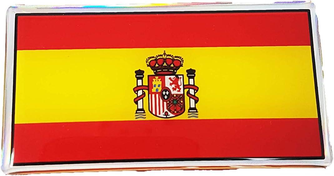 Quattroerre - 14002. Pegatina adhesiva en 3D de la bandera de España: Amazon.es: Coche y moto