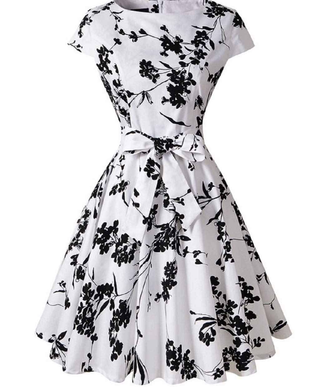 Blackfloweronwhite Women Cocktail Dress Sleeveless Vintage Party Dress Swing Hepburn Party Dress