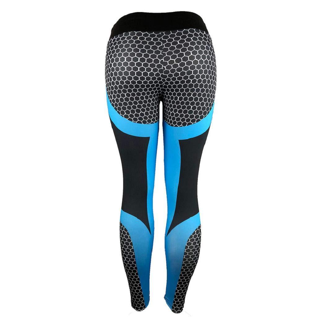 QUICKLYLY Yoga Mallas Leggins Pantalones Mujer,Womens 3D Print Yoga Skinny Workout Gym Leggings Entrenamiento Deportivo Pantalones Cortos(Azul,M): ...