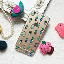 Cute Cactus Plants Pattern Clear TPU silicone Phone Case Cover for the newest phone model : iPhone 4 5S SE 6S 7 Plus Samsung Galaxy S5 S6 S7 edge Note 7 HTC M8 M9 M10 LG G3 G4 G5 Nexus 5X 6P