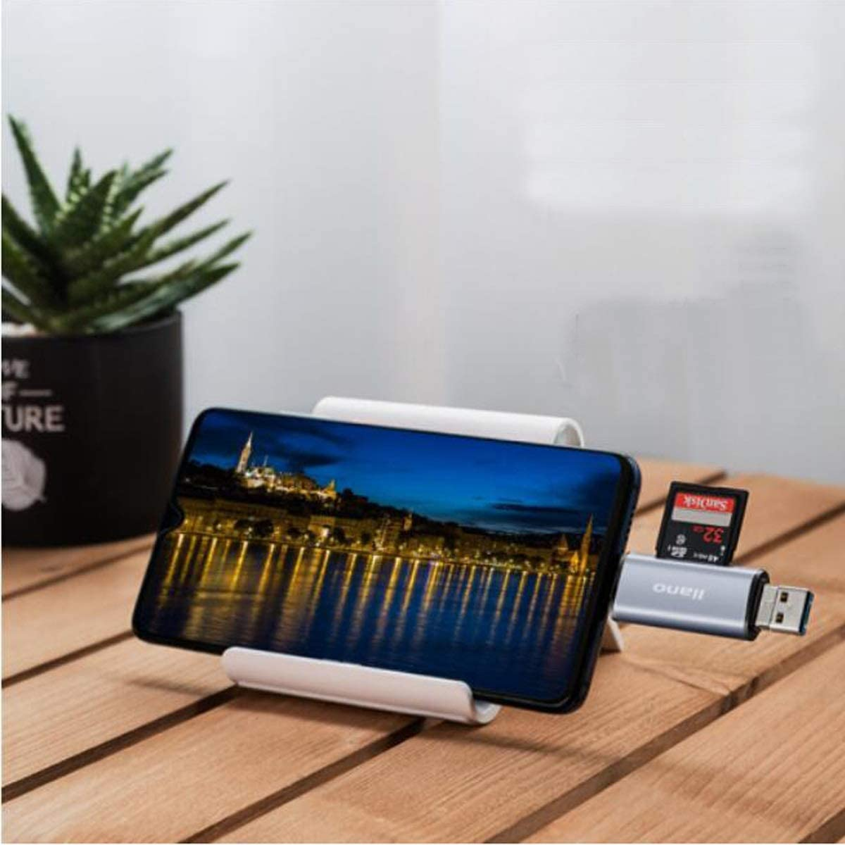 USB3.0 Card Reader Aishanghuayi Card Reader Color : Gray Multi-Function 5-in-1 Mobile Phone Card Reader