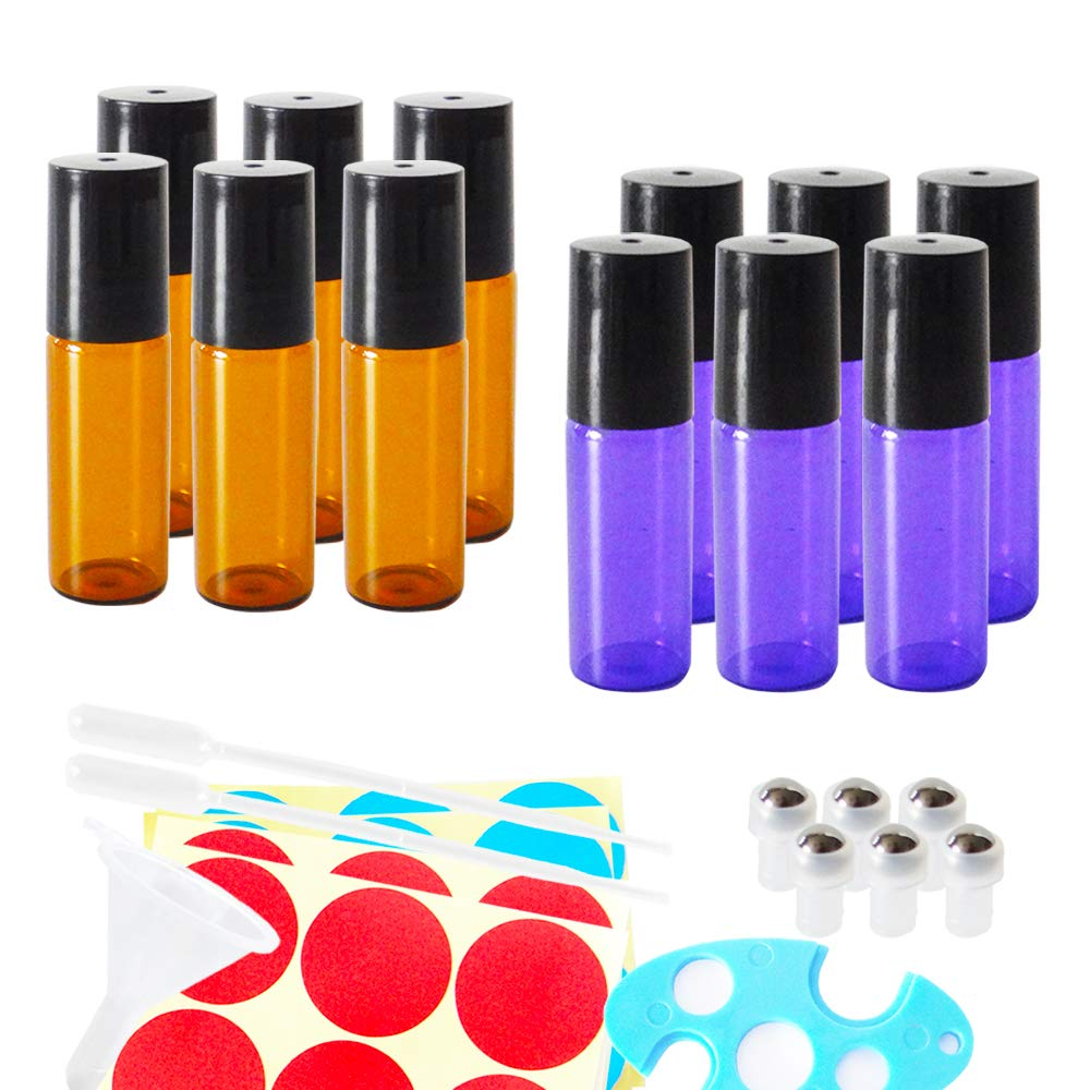 12pack 5ml Empty Glass Roll-on Bottles, Refillable Cosmetic Containers for Essential Oil Perfume, Extra 2x 0.5ml Droppers, Mini Funnel, Bottle Opener, 6 Stainless Steel Roller Balls, 24 Piece Labels