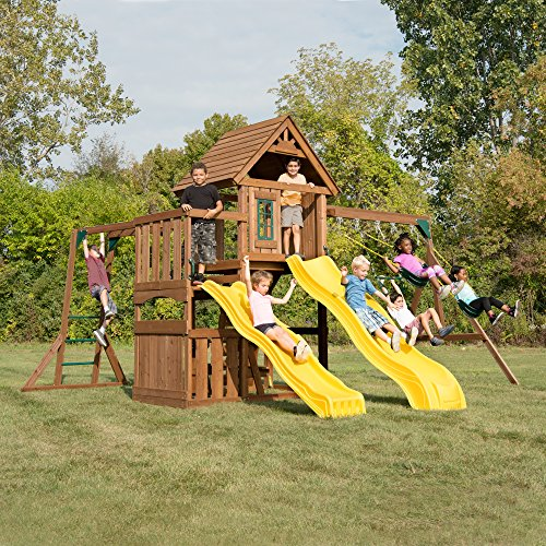 Swing-N-Slide WS 8356 Wooden Timberview Play Set with Two Slides, Monkey Bars, Wood Roof, Climbing Wall and Swings, Wood