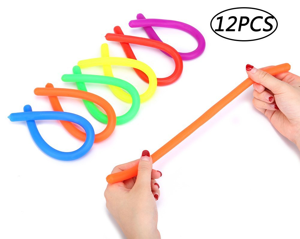 12PCS Stretchy Fidget String Sensory Toys - ADD/ADHD/Autism Kid's Reduce Stress Reliever Anxiety Relief