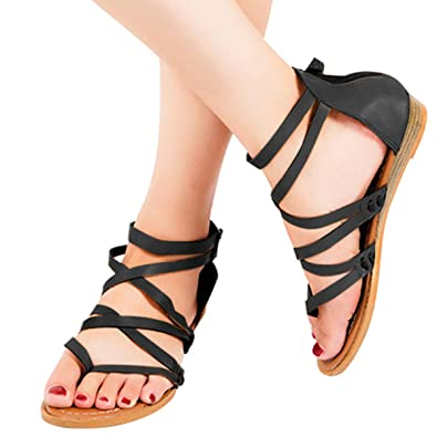Roman Women/'s Flat Wedge Sandals Low Heels Ankle Strap Buckle Gladaitor Shoes A