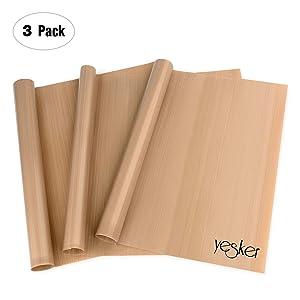 Yesker 3 Pack Teflon 16x20 Heat Press Transfer Sheet Super Sale TIME, Brown