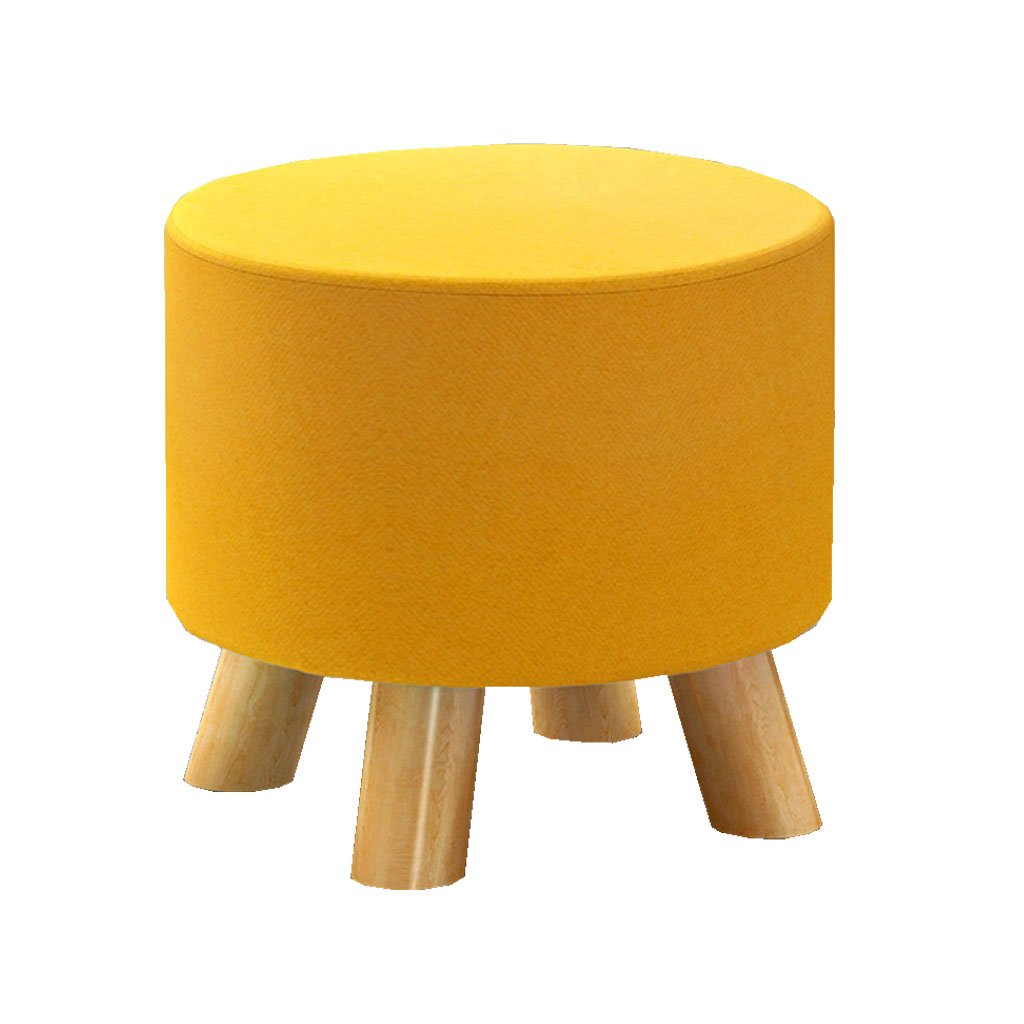 Yellow ZHBWJSH Change shoes Bench - Fashion Stools Fabric Sofa Bench Solid Wood Stool, Four colors Optional (color   Yellow)