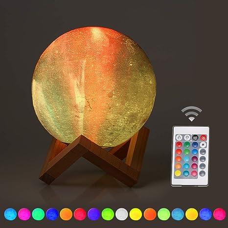 OWSOO Luz de Luna Lámpara Luna 3D con Base Cargador USB 16 ...