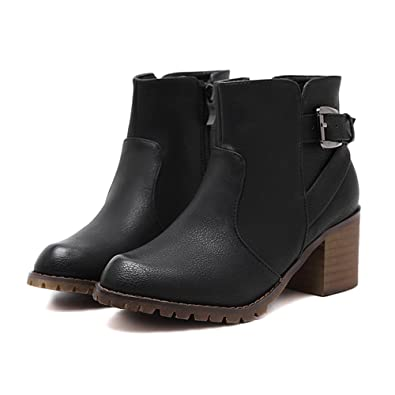 Women's Buckle Straps Faux Leather Chunky Stacked Low Heel Black Western Ankle Boots