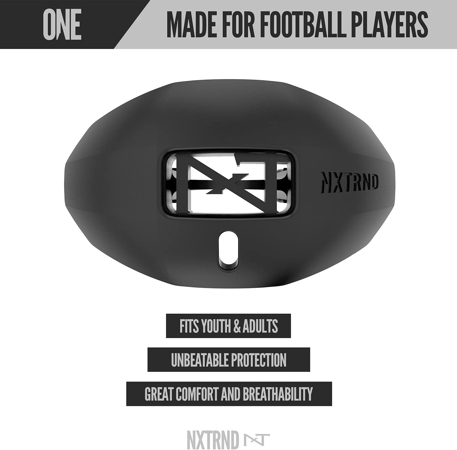 Compatible with Braces Football Mouth Guard for Youth /& Adults Nxtrnd One Mouth Guard Sports Mouth Guard Football Lip Protector with Detachable Strap