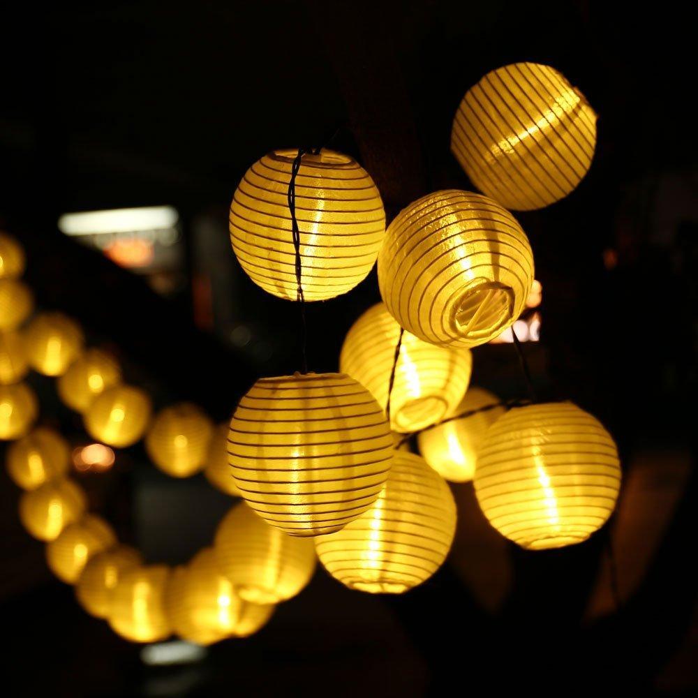 TurnRaise 4.8 Metros 20 LED Guirnaldas de Luces Farolillos Solares Exterior Impermeable para Decoraci/ón Jardines Casas Bodas Blanco c/álido