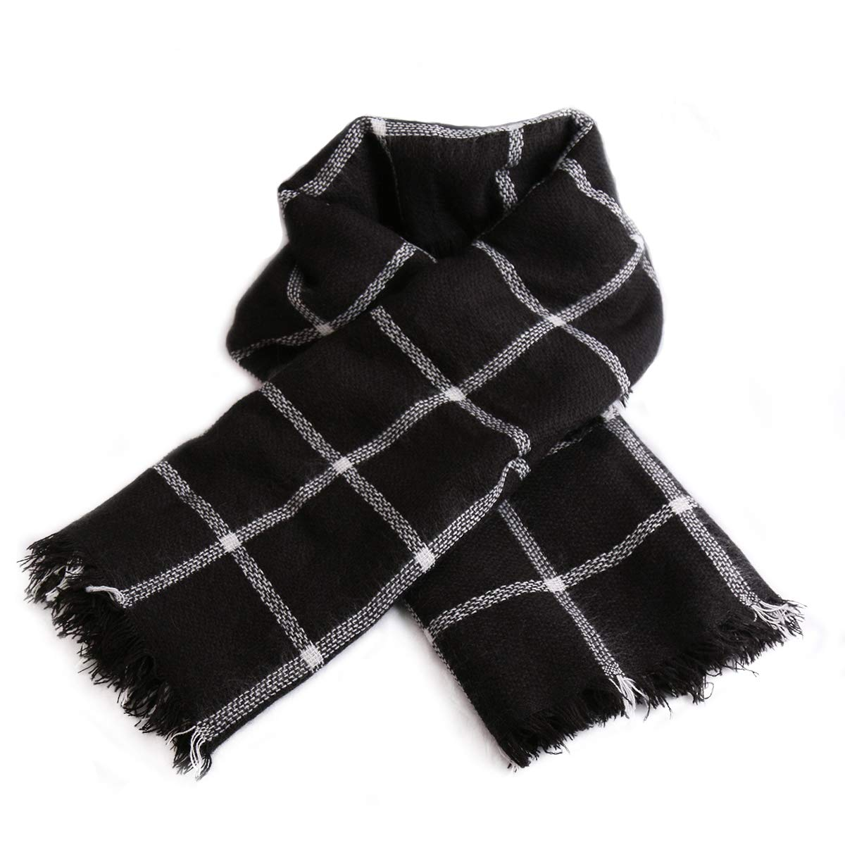 Women Square Plaid Blanket Scarf Shawl for Winter Wear Oversized Warm Soft Chunky Square Scarf (black)