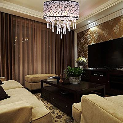 "DINGGUâ""¢ Luxury Drum 4 Lights Flush Mounted Crystal Ceiling Lamp , Modern Chandelier Pendant Light Fixtures for Bedroom"