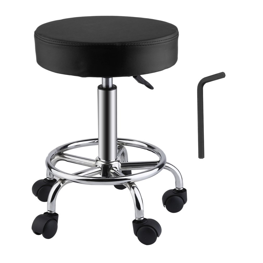 Belovedkai Rolling Swivel Stool, Beauty Salon Massage Spa Tattoo Adjustable Stool with Wheels (black)