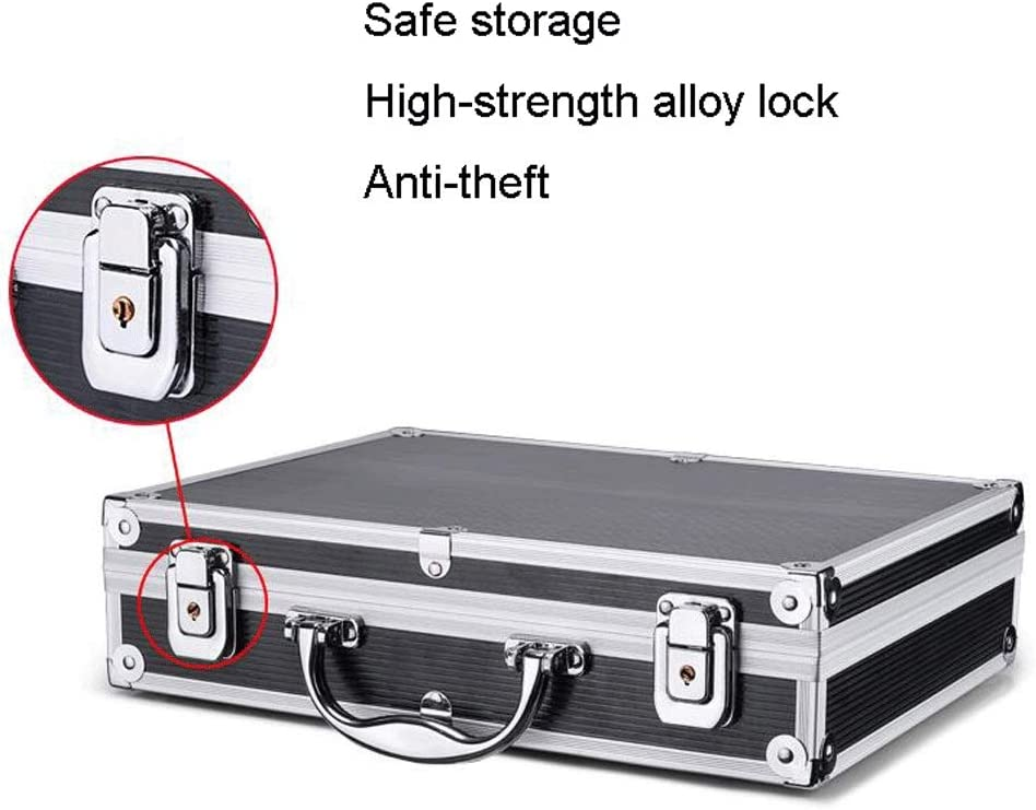 Household Tool Organizers Aluminum Alloy Portable Toolbox Aluminum Briefcase Hard-sided with Combination Locks Toolbox Tool Box/Storage Box (Color : Silver-a) Silver-a