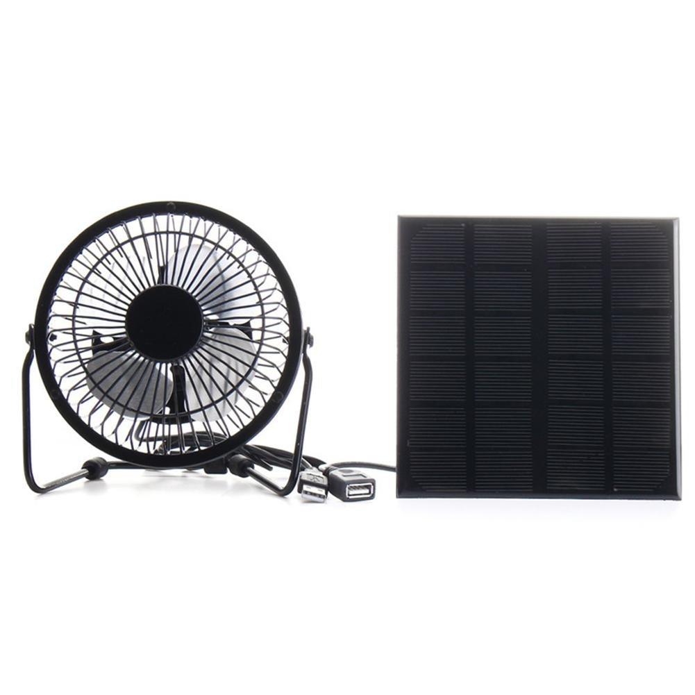 Awakingdemi 3W 6V Solar Panel Iron Fan 4 Inch Cooling Ventilation Fan Charge for Phone by Awakingdemi