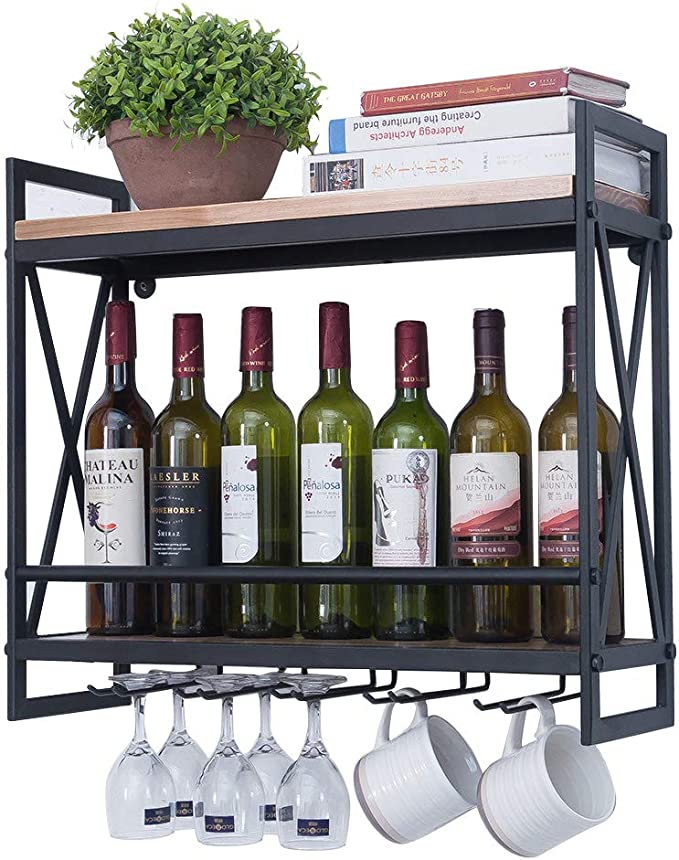 Amazon Com Industrial Wine Racks Wall Mounted With 6 Stem Glass Holder 23 6in Rustic Metal Hanging Wine Holder Wine Accessories 2 Tiers Wall Mount Bottle Holder Glass Rack Wood Shelves Wall Shelf Kitchen Dining