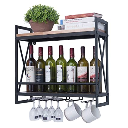 544d4a50a1 Industrial Wine Racks Wall Mounted with 5 Stem Glass Holder,23.6in Rustic  Metal Hanging
